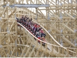 Europe's largest wooden rollercoaster opens to the public at Tayto Park, Co Meath, Ireland.